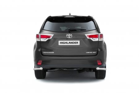 Защита заднего бампера угловая d63мм Toyota Highlander (нерж) 2014